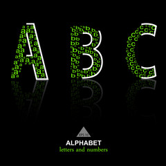 vector of stylized ECO-like alphabets and numbers