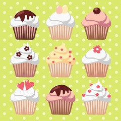 Set of spring easter cupcakes, muffins, vector illustration