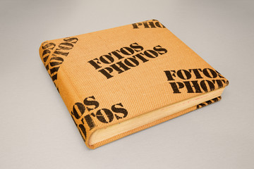 Photo album cover made from burlap