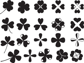 Clover leafs set illustrated on white