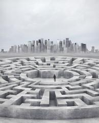 businessman and huge maze