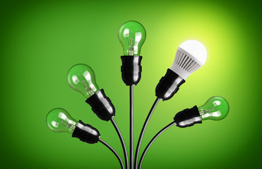 Idea concept with light bulbs. Green background