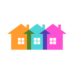 Vector color house icon. Group of cottage