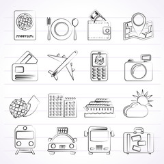 travel, transportation and vacation icons - vector icon set
