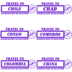 Set of stamps travel to chile,chad,congo,comoros,colombia,china