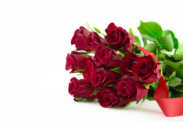 Twelve red roses.