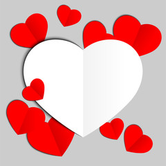 Red and white papers hearts Valentines day card