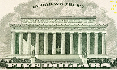 Lincoln memorial on paper five dollars bill