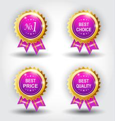 Set of best badge purple color