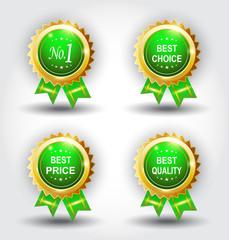 Set of best badge green color