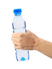 Human hand holding a bottle of water isolated on white
