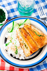 Baked salmon with rice