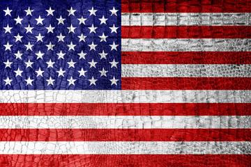 USA Flag painted on luxury crocodile texture