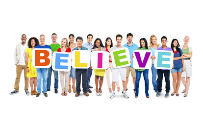 Multiethnic Group of World People Holding Word Believe