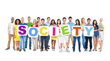 "Group of Multiethnic World People Holding ""SOCIETY"""