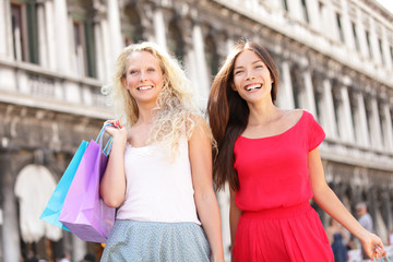 Shopping girls - two women shoppers in Venice