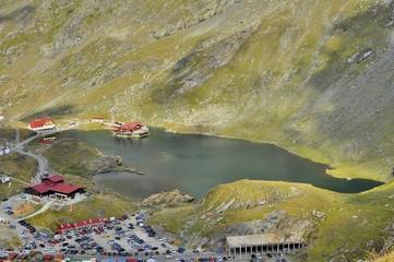 Aerial view of  alpine lake resort in Carpathians