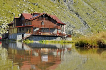 Water chalet in the high mountains