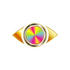 Golden eye with colorful iris- Business perspective logo