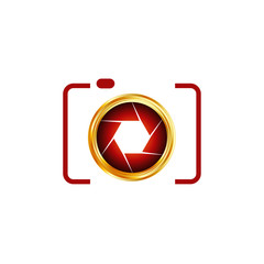 Photography logo- digital camera with golden aperture