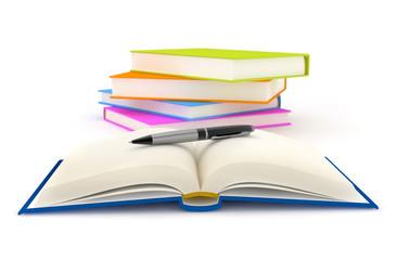 pen over an open book