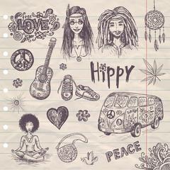 hand drawn hippy set