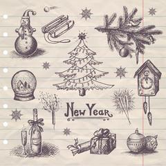 hand drawn New Year set