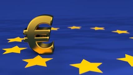 Euro Symbol aus Gold auf Europa-Flagge