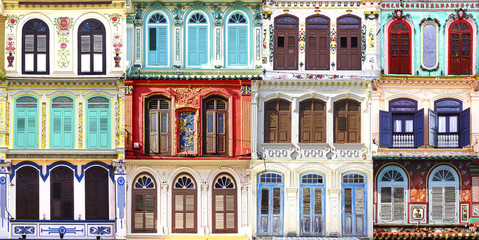 Fototapete - Collage of the unique windows.