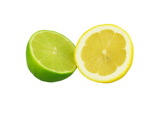 Fresh lime and lemon isolated