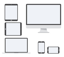 Electronic device vector icon set isolated on white