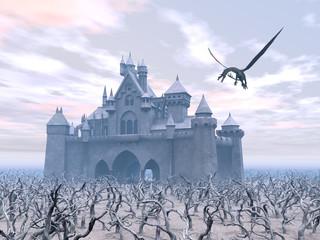 Schloss und fliegender Drache