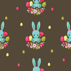 Easter floral seamless pattern. Bunny and eggs