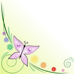 Sfondo farfalla occhi e margherite colorate