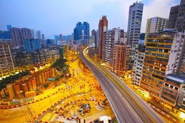 Sunset modern city overpass