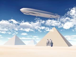 Ägyptische Pyramiden und Luftschiff