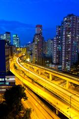 Elevated expressway in Hong Kong at night