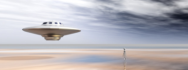 Spaceship and Alien in a Distant World