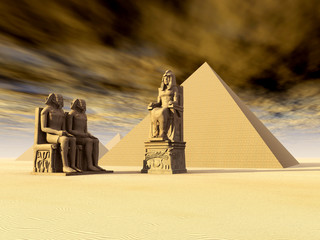 Egyptian Statues and Pyramids