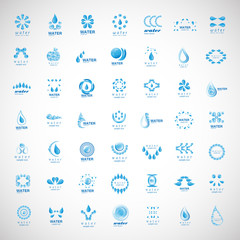 Water And Drop Icons Set - Isolated On Gray