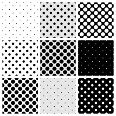 Seamless vector black white grey polka dots pattern background