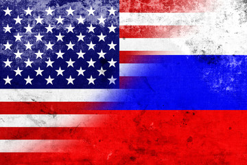 Grunge USA and Russia Flag