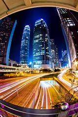 Traffic in city at night in Hong Kong