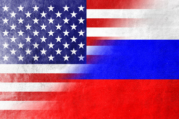 USA and Russia Flag painted on leather texture
