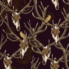 Vintage seamless background with a deer skull
