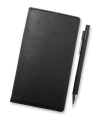 Black notebook and pencil isolated on white background, corporat