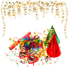 colorful garlands, streamer and confetti on white