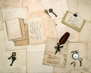 vintage letters and handwritten postcards