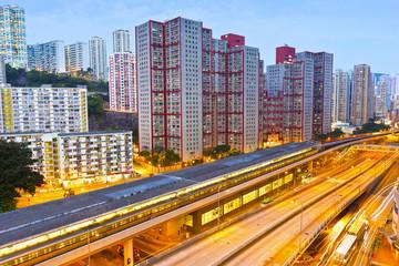 Railway transportation in Hong Kong at night