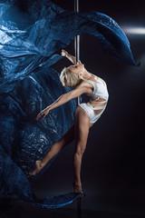 pole dance woman with blue silks